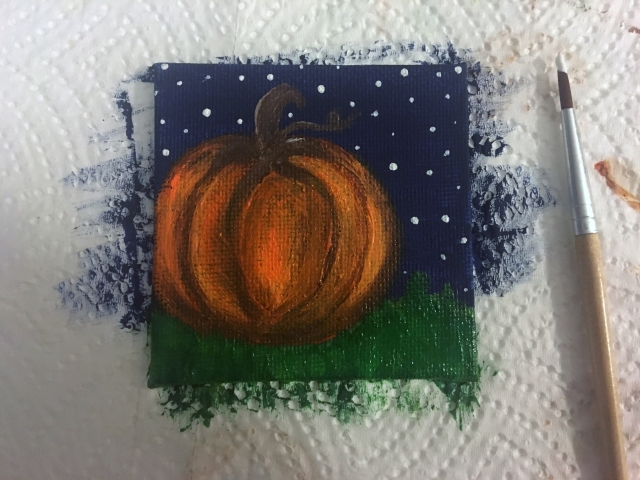 pumpkin painting in acrylic