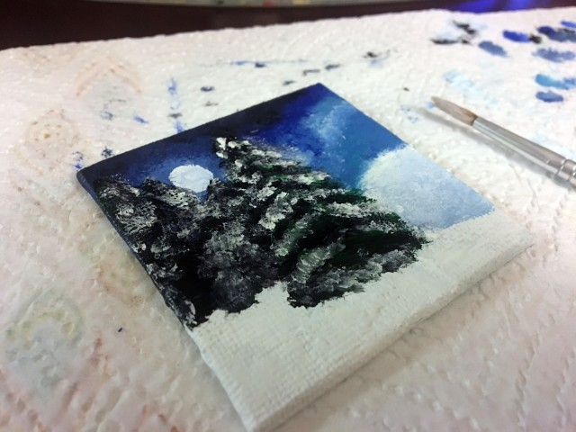 pine tree snow painting