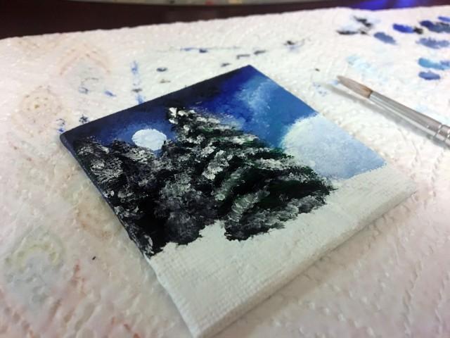 pine tree snow painting