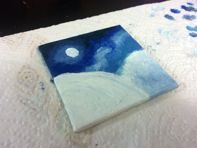painting the snow and-sky
