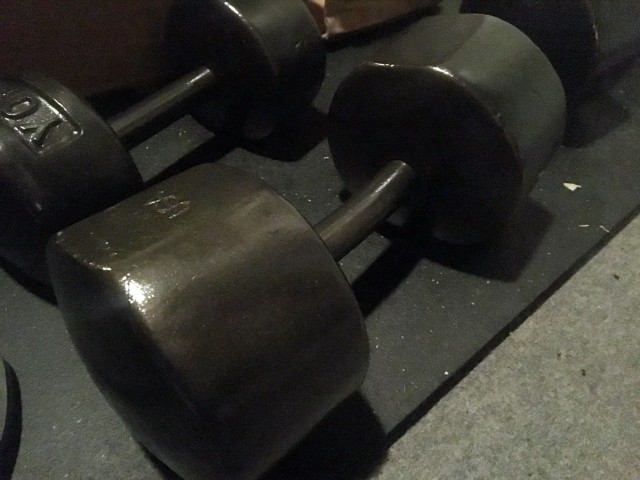 spray painted York dumbbells
