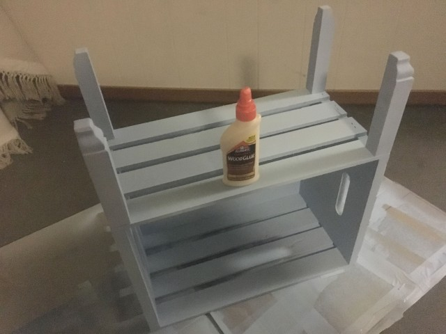glue feet onto wood crate side table